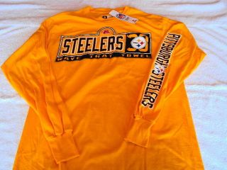 PITTSBURGH STEELERS 33 Wave Towel Logo NFL Team Apparel Gold Long