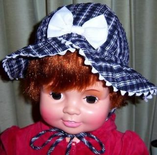 BABY Girl Sun Bonnet Bucket HAT White Navy Seersucker Bow Trim CAP 24