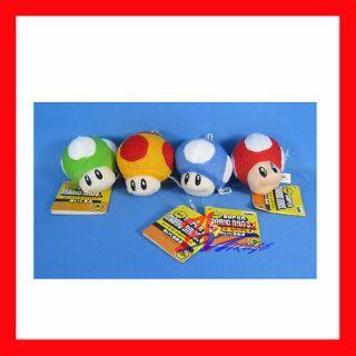 Wii NDS Super Mario Bros 2 Mushroom plush keychain x4