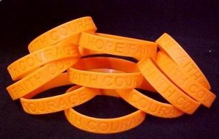 Leukemia Orange Silicone Bracelets 100 pc Lot Awareness Month is