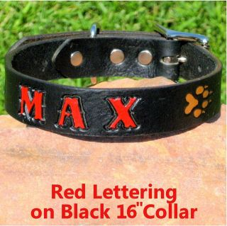 Custom 1 Black Genuine Leather Dog Collar, Personalized Pet Name