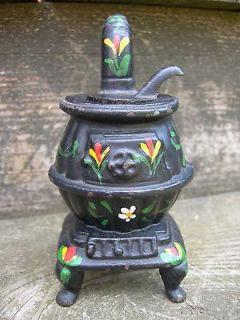 Vintage Black Cast Iron Pot Belly Stove Floral Folk Painted Miniature