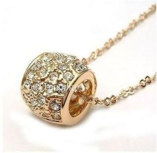 18K Rose Gold Gp Swarovski Crystal Necklace AAA59