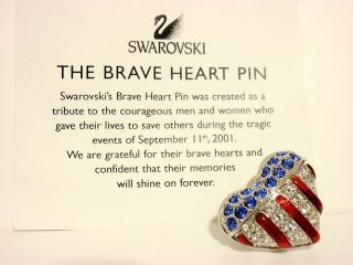 Swarovski Crystal AMERICAN FLAG BRAVE HEART TIE TACK PIN NEW