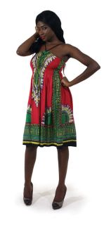 DASHIKI DRESS TRADITIONAL PRINT ETHNIC HALTER STRAP SUN DRESS NEW