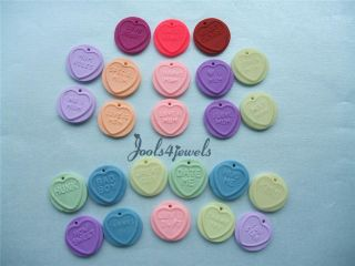 Kitsch Fimo Love Heart Sweet Clip on Charms for Bracelets 24 to