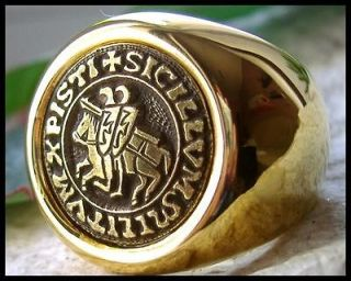 R953 10   NEW KNIGHTS TEMPLAR MASONIC MASON MENS RING GOLD PLATED