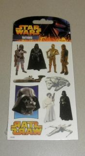 Star Wars Temporary Tattoos Pack Vader Boba Fett Chewbacca Leia X Wing