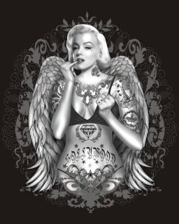 MARILYN MONROE TATTOOS & WINGS High Definition design t shirt S 2XL