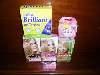 BOXES LOREAL + GARNIER HAIR COLOR + PEPHRESH TAMPONS + BIC SOLEIL