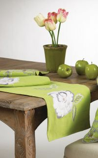 Camilla Embroidered Flower Lime Green Cotton Table Runner   14x72