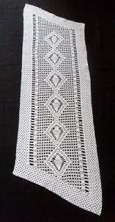 Gorgeous White Hand Crochet Table Runner / Dresser Scarf 36.5 x 12.7