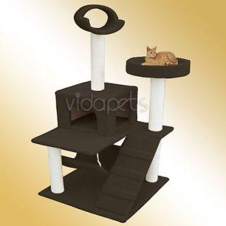 60 Dark Chocolate Brown Cat Tree House Condo Scratcher Furniture