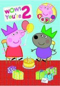 Peppa Pig Age 2/2nd Happy Birthday Card with Badge