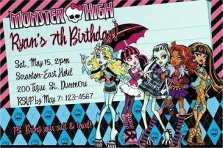 Personalized MONSTER HIGH Birthday Party Invitations