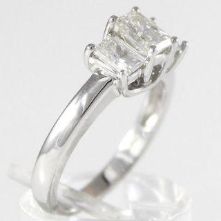 6x4mm Radiant Moissanite Engagement Ring 3 Stone Tulip 14K white Gold
