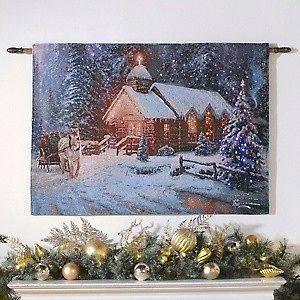 Thomas Kinkade Fiber Optic Tapestry Christmas Chapel & Streams of