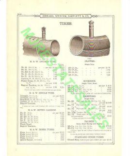 1899 Antique Bicycle Tire,Clipper,M & W Catalog AD