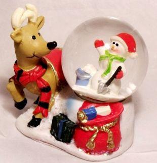 NEW REINDEER & SNOWMAN SNOW GLOBE Christmas Holiday Figurine