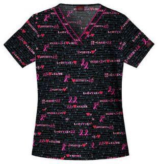 scrub tops breast cancer awareness