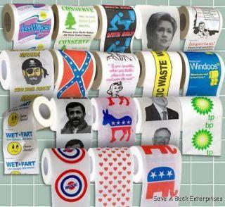 50 assorted toilet paper rolls   Clinton, Obama, Palin, Wet Fart