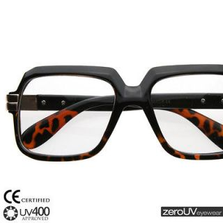 block thick frame glasses eyeglasses 2981 black tortoise + pouch