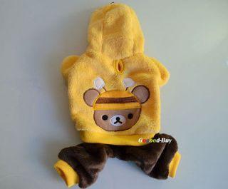 Pet Dog Puppy apparel cloth trousers warm bee Coat XXS XS S M L size