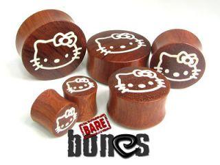 Gauges 1/2 Blood Wood Organic Body Jewelry Hello Kitty Plugs Gauges