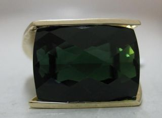 Incredible Unique 17ct Green Tourmaline 14k Saddle Ring