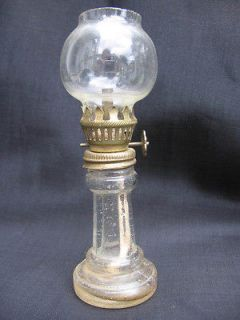 vtg miniature mini oil lamp w/ globe brass burner glass clear pillar