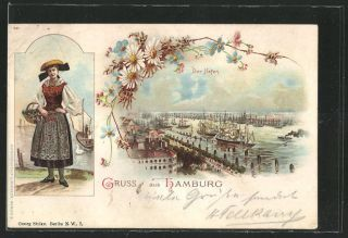 vint. Lithographie Hamburg, Harbor, Woman in Traditional costume 1898