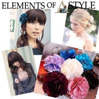 colors Silk Petal Flower Dual Hair Clip + Brooch