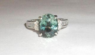 Pool Water Blue Tourmaline & Baguette Diamond 14K White Gold Ring