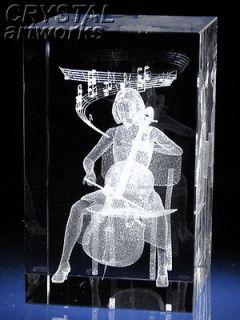 CELLIST GIRL* 3D Laser Etched Crystal Figurine G1215s