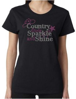Country Girls Sparkle and Shine Rhinestone Womens SS T Shirts S 3XL