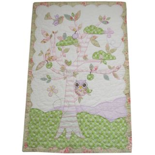 GIRLS COT/COT BED QUILT PATCHWORK TREE, BIRDS & OWL WITH FLORAL BORDER
