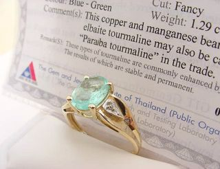NATURAL PARAIBA TOURMALINE w/ CERTIFICATE & DIAMONDS 14K GOLD RING