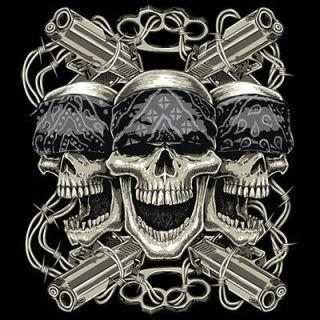 Skull T Shirt Thug Life Skulls Guns Barb Wire Brass Knuckles Tee