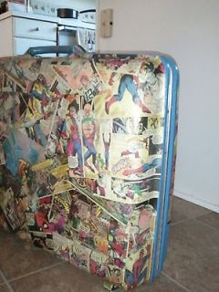 decoupage pop art Marvel DC comics samsonite luggage train case ooak