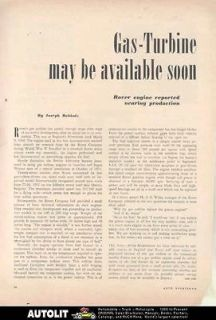 1953 Rover Gas Turbine Engine Article