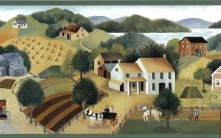 WALLPAPER BORDER AMERICANA FARM GRANDMA MOSES HORSES WAGONS TREES
