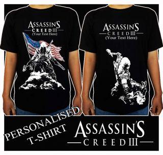 Assassins Creed III 3 Game PS3 XBOX 360 BLACK T Shirt Shirt Man Woman