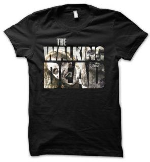 THE WALKING DEAD Horror Zombie TV Series Mens T Shirt Black