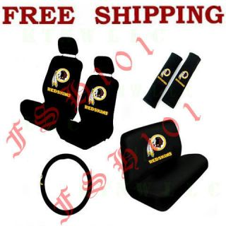 New 11pc Set NFL Washington Redskins Seat Covers Steering Wheel Cover