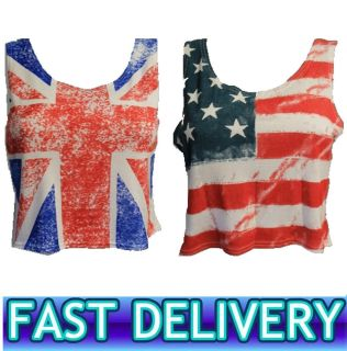 and Stripes American Flag Union Jack Cropped Top Ladies Crop Vest