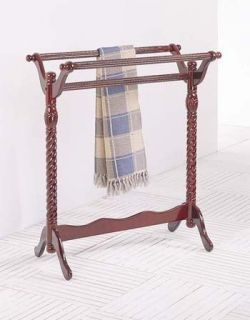 WOODEN LARGE QUILT RACK TOWEL RACK FREE STANDING CHERRY