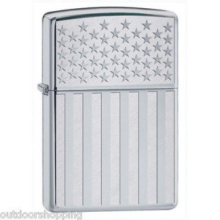 CHROME AMERICAN FLAG AUTHENTIC ZIPPO   USA Refillable Fluid Lighter