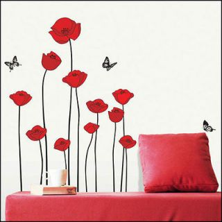 SS 8218 POPPY FLOWER DECOR MURAL ART WALL PAPER STICKER