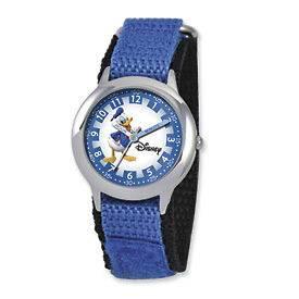 Disney Kids Donald Duck Blue Velcro Band Time Teacher Watch