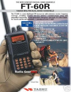 Yaesu FT 60R Dual Band VHF UHF portable FT60R Radio